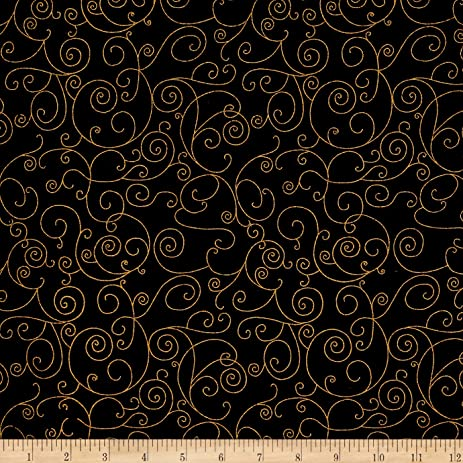 Amazon.com: 110 In. Wide Quilt Back Willow Black/Gold Fabric By The Yard
