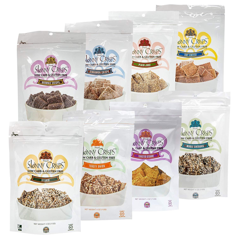 Skinny Crisps Gluten Free Crackers 8-Bag Variety Sampler Pack by Skinny Crisps