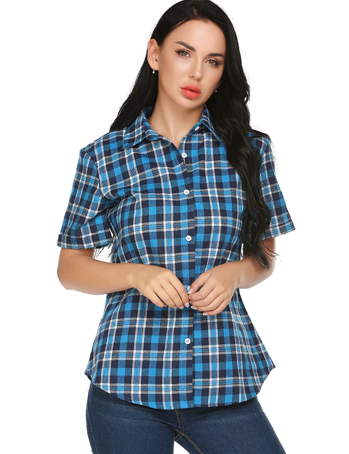 Rosie the Riveter Costume & Outfit Ideas SUNAELIA Womens Plaid Flannel Shirt Short Sleeve Boyfriend Button Down Cotton Casual Blouse Check Gingham Top S-XXL $21.99 AT vintagedancer.com