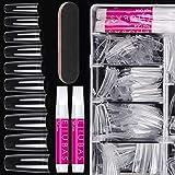 Nail Tips Fake Nails Kit - Ejiubas Nail Tips And Glue 500PCS Clear Nail Tips Cofffin Nail Tips Acrylic Nail Tips 4PCS Nail Gl