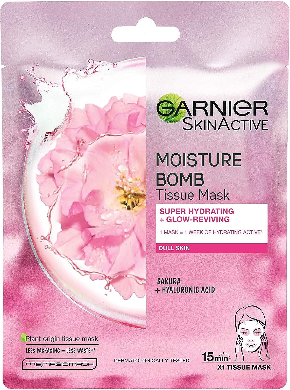 Garnier Moisture Bomb Tissue Mask Sakura Hydrating Tissue Face Sheet Mask Dull Skin 28 G Amazon Co Uk Beauty