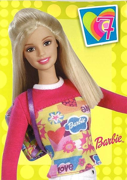 Barbie 7 hoy tarjeta de cumpleaños con insignia y sobres ...