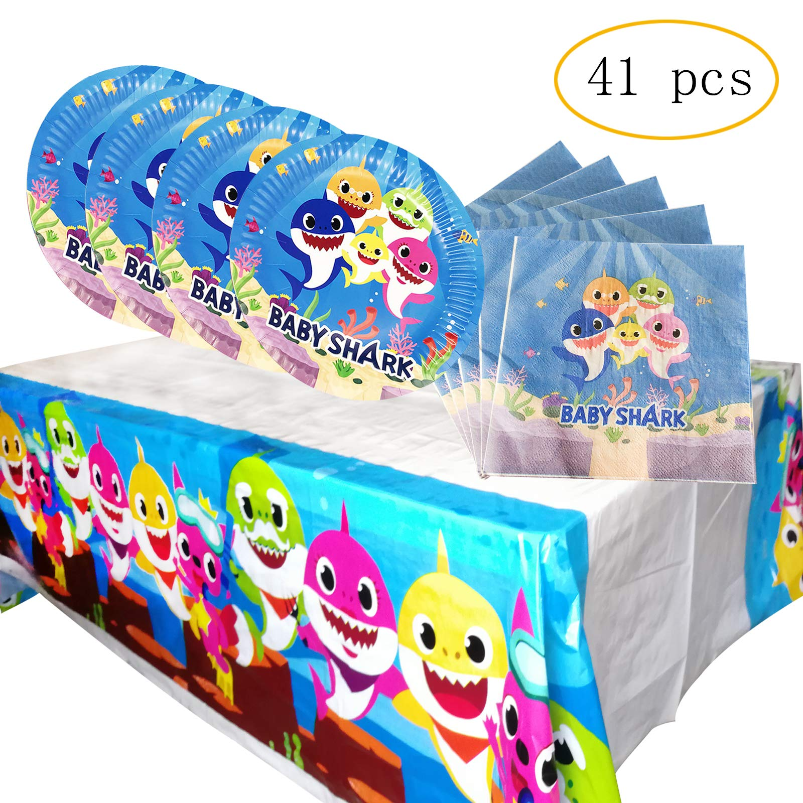 Shark Party Supplies for Baby, 20 plates, 20 napkins and 1 tablecloth