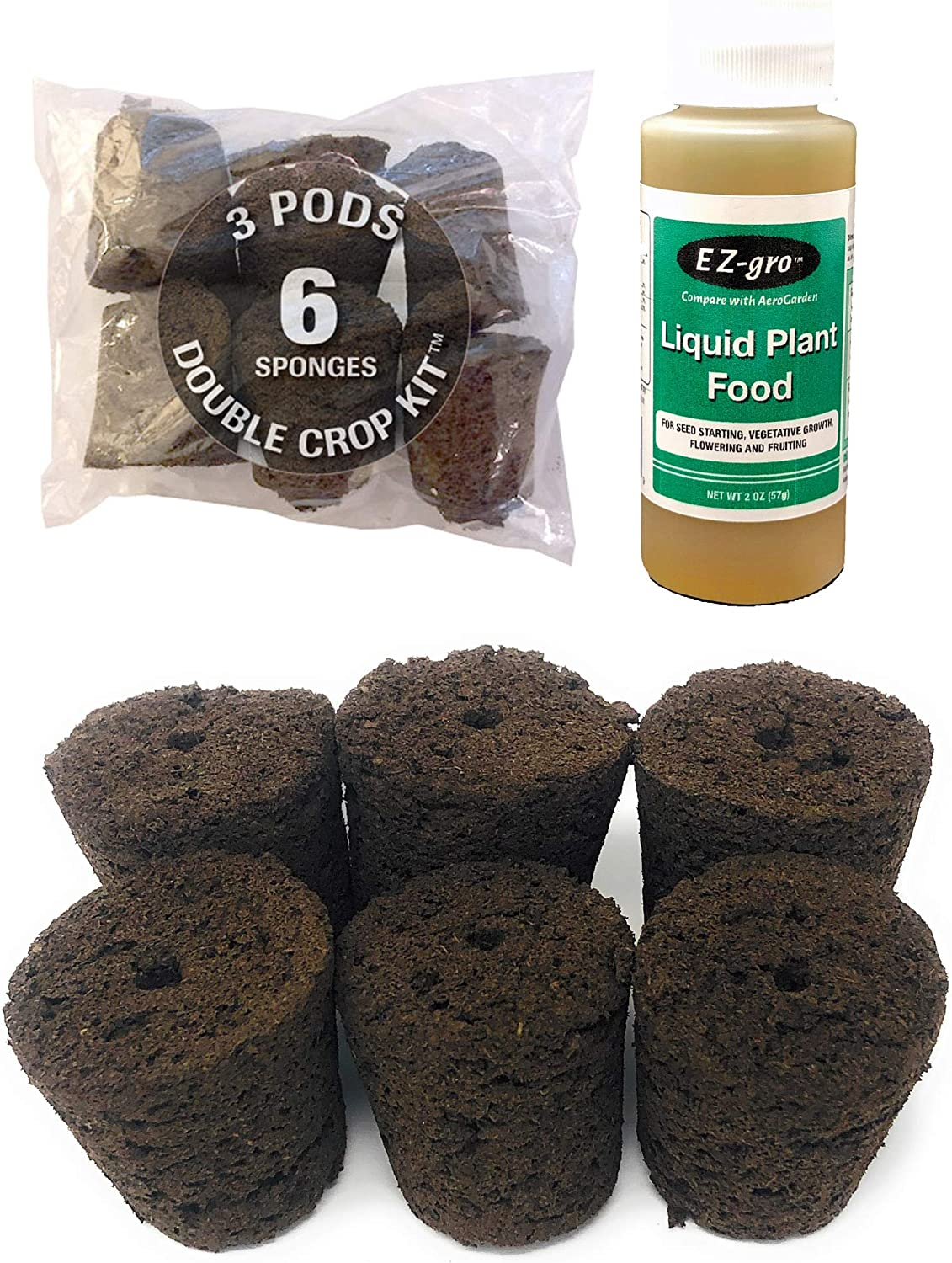 Hydrohort Grow Sponges are Compatible with The Click and Grow Smart Garden | Double The Sponges for 2 Crops (6 Sponges) | Specially Formulated Liquid Nutrients for Smart Gardens