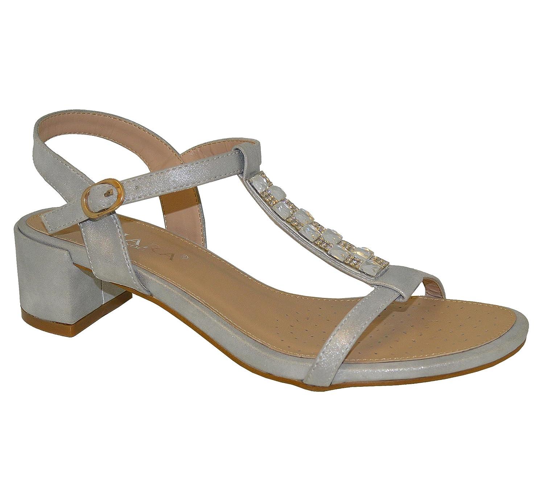 516834782a0 Onlineshoe Women s Diamante Crystal T-Bar Mid Heel - Diamante Jewelled Bow  - Silver Diamante UK 3 - EU36  Amazon.co.uk  Shoes   Bags