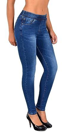 844e2ed1ec7a ESRA Damen Jeans Hose Skinny und Slim Fit Jeanshose mit Gummibund  SkinnyJeans bis große Größen J291  Amazon.de  Bekleidung
