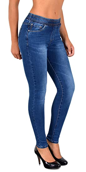 2f7b0fc1189 ESRA Jean Femme Skinny avec Ceinture élastique Skinny Jeggings pour Femmes  Pantalon Femme J291