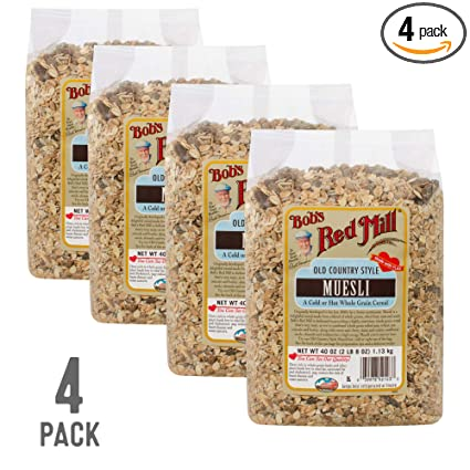 Bobs Red Mill Resealable Old Country Style Muesli Cereal, 40 Oz (4 Pack)