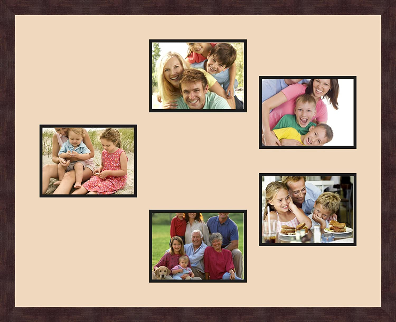 Art to Frames Double-Multimat-984-783//89-FRBW26061 Collage Frame Photo Mat Double Mat with 5-6x8 Openings and Espresso Frame