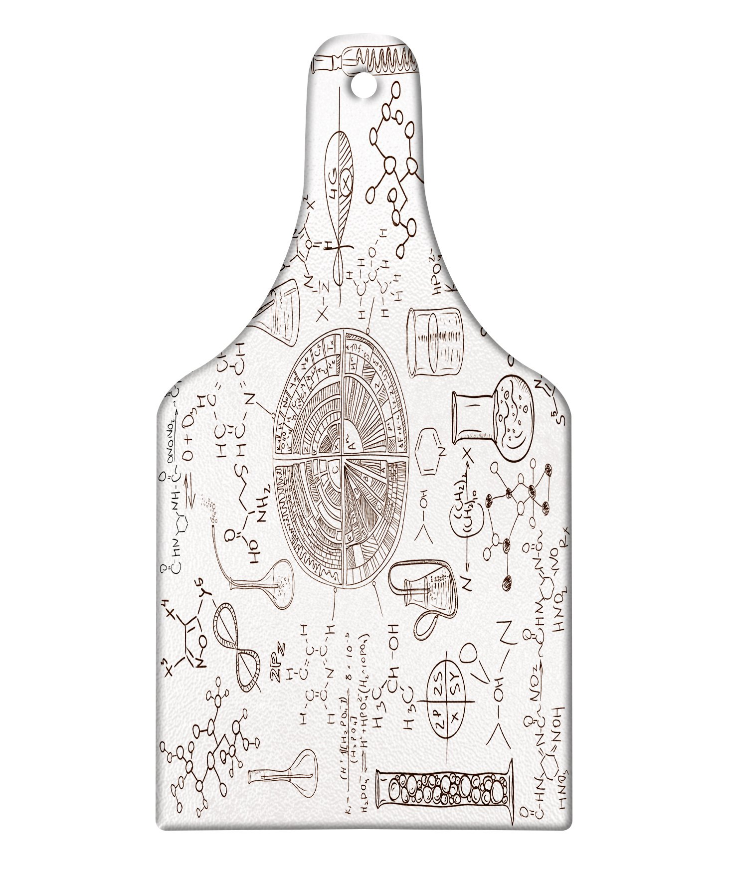 Lunarable Science Cutting Board, Science Theme Hand Drawn Style Chemistry Laboratory School Classroom Illustration, Decorative Tempered Glass Cutting and Serving Board, Wine Bottle Shape, Umber White