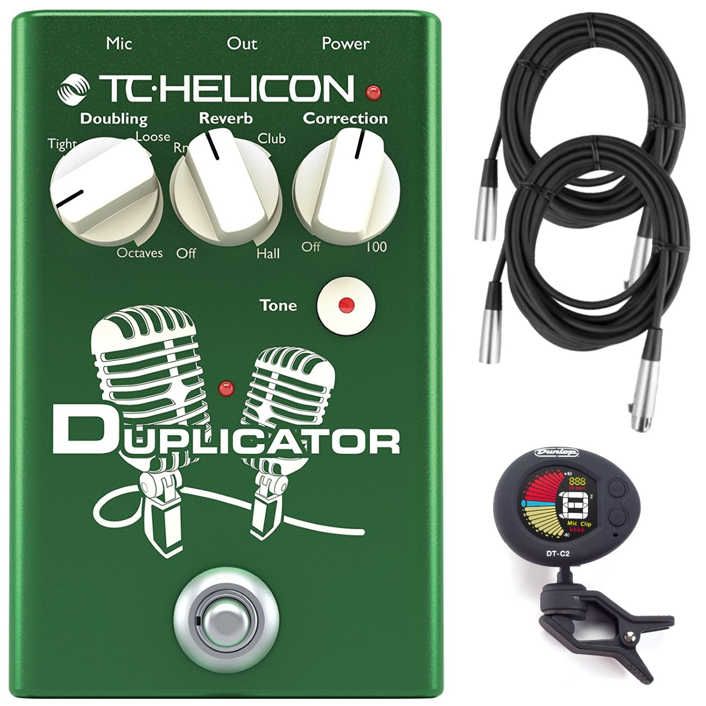 TC Helicon Duplicator Vocal Effects Pedal Bundle w/(2) 20' XLR Cables and Clip-On Tuner TC Electronic