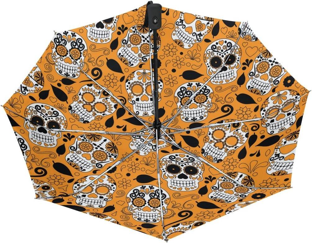 MAPOLO Sugar Skull Flower Orange Print Windproof Rain Travel Canopy 3 Folds Auto Open Close Button Umbrella