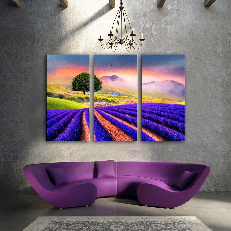WG 3PCS Leinwand Malerei dekorative Kunst Lavendelfelder gesetzt, Bilderrahmen, 30  60  3 B07KN3N4YM  | Helle Farben