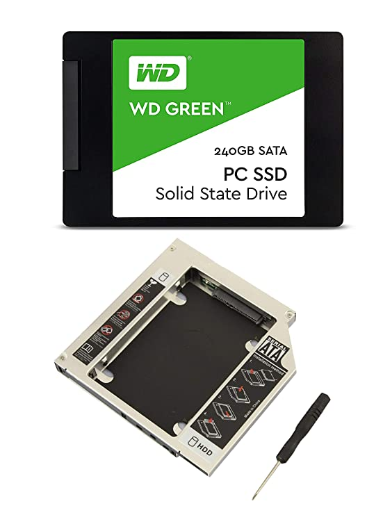 """Witamy Sata Caddy 9.5 mm for 2.5""""-inch Hard Drive Disk HDD and WD 240 GB Green SSD Combo for All Laptops (Multicolour) Internal Solid State Drives at amazon"""