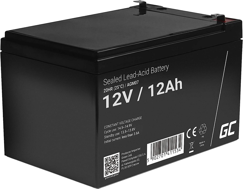 Green Cell Recambio de Batería Gel AGM 12V 12Ah Rechargeable Pila Sellada de Plomo ácido batería sin Mantenimiento Batería de Reemplazo para Moto eléctrica Carro de Golf Montacargas Silla de Ruedas