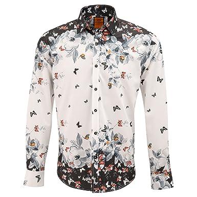 abd6d27e454 Oscar Banks Placement Butterfly Print Long Sleeve Mens Shirt SL6320 ...
