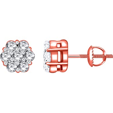 f37d280daf Amazon.com: 0.15 Carat (ctw) 14k Rose Gold Round Diamond Flower Shape  Invisible Cluster Stud Earrings with Screw Back 1/6 CT: Jewelry