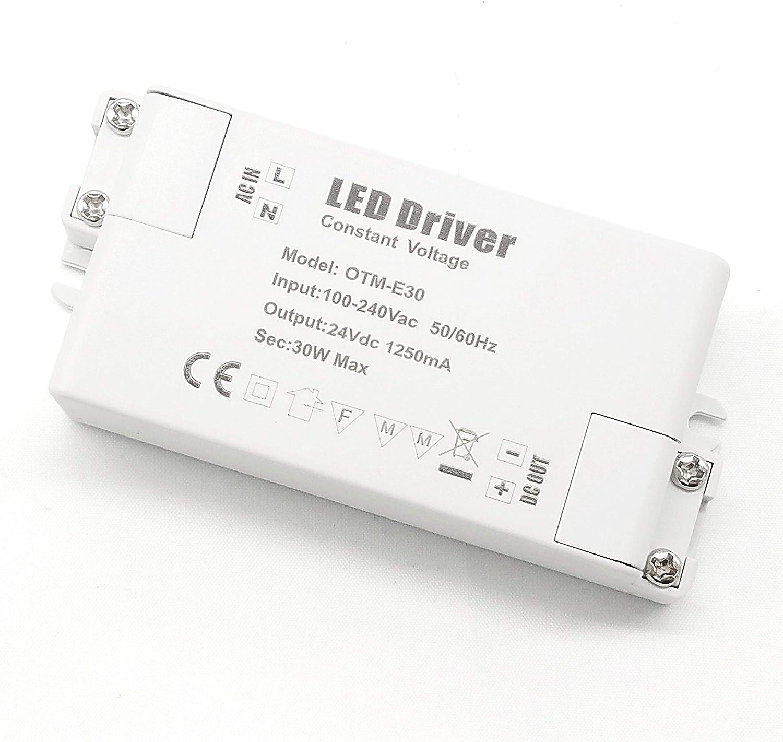 YAYZA! 1-Paquete Transformador de Conductor LED de Bajo Voltaje IP44 24V 1.25A 30W Fuente de Alimentación Conmutada de CA/CC