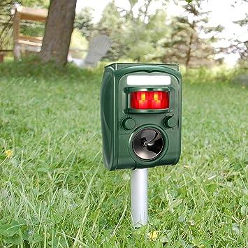 Repelente Ultrasónico, Drillpro Outdoor repeller para Los Animales con LED Que Destella, Modo de