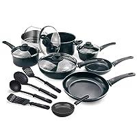 GreenLife CC001922-001 Soft Grip 16 Piece Ceramic Non-Stick Cookware Set, Black