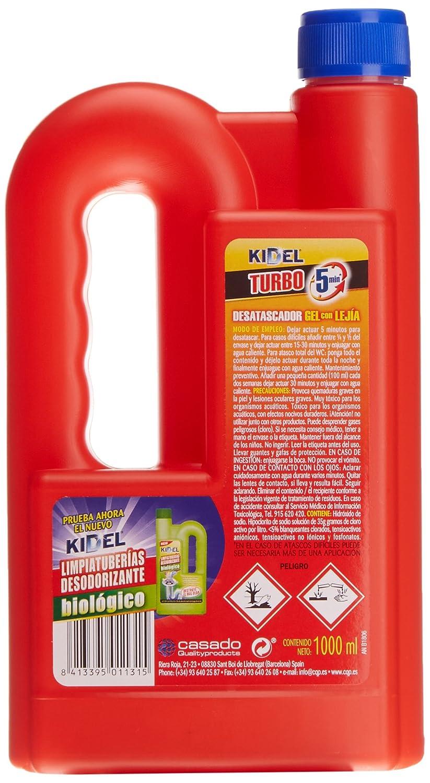 Kidel - Turbo, Desatascador, 1 L - [Pack de 6]: Amazon.es: Salud y cuidado personal