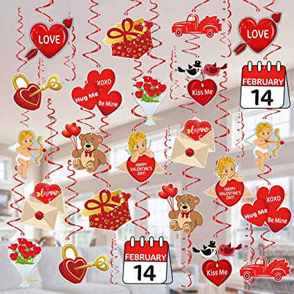 90shine 2 PCS Valentines Day Decorations Banners Door Porch Sign Hanging Love Heart Streamers Wall Decor Party Supplies