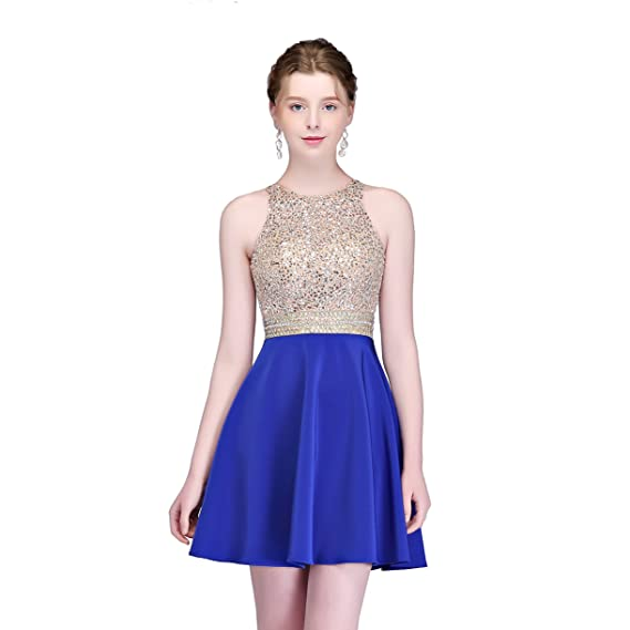 Review MEILIS 2016 Beading Bodice Open Back Short Homecoming Dress