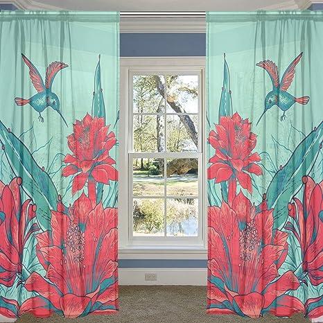 coosun rojo flores y colibrí cortina de SHEER paneles de tul poliéster gasa ventana Panel de