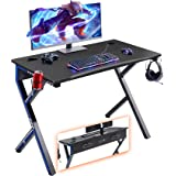 """Mr IRONSTONE Gaming Desk 45.2"""" W x 23.6"""" D Home Office Desk, Gaming Workstation with Power Strip of 3-Outlet & 2 USB Ports, C"""