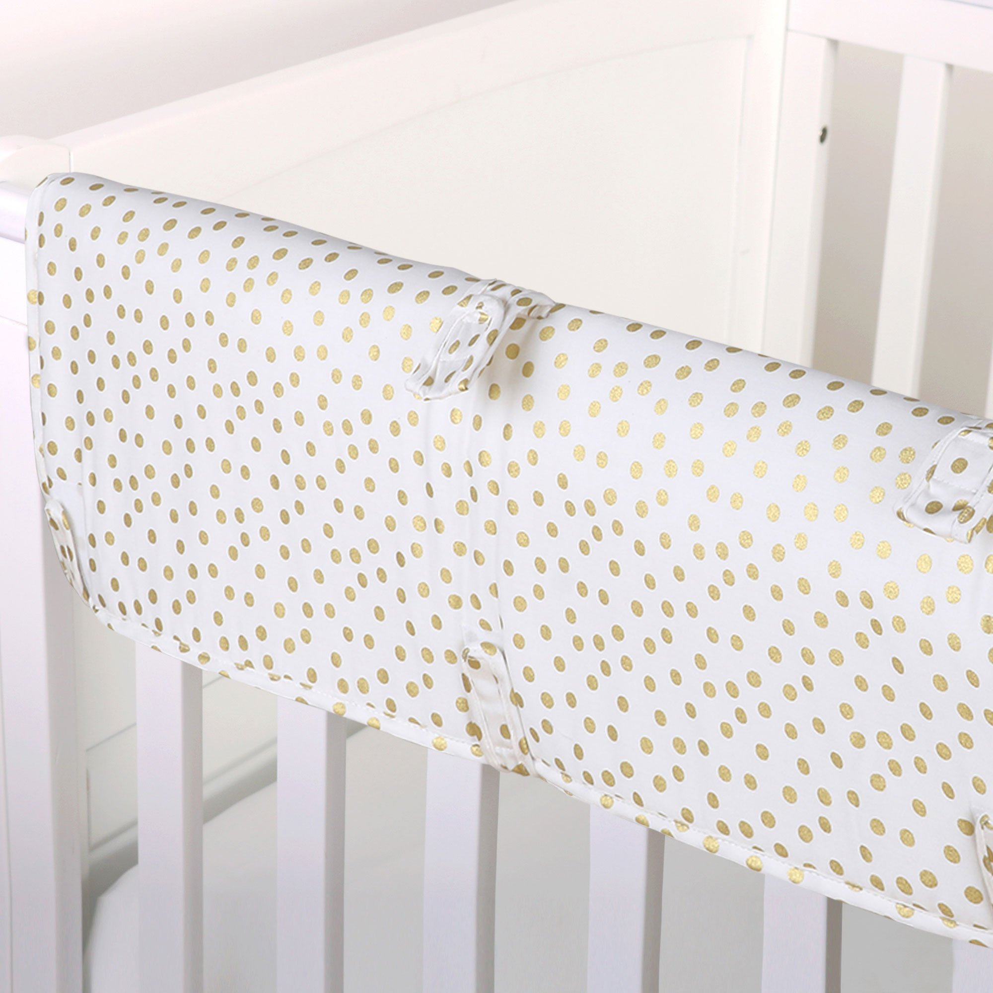 Gold Confetti Dot Print 100% Cotton Padded Crib Rail Guard by The Peanut Shell