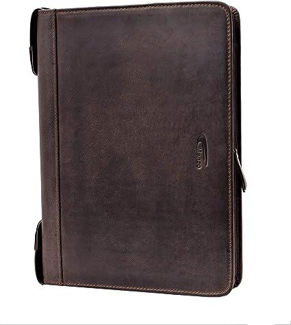 MENZO Carpeta de conferencia de cuero de búfalo resistente, carpeta de documentos, carpeta de cuero, portadocumentos, portafolios, carpeta ejecutiva (Marrón oscuro): Amazon.es: Oficina y papelería