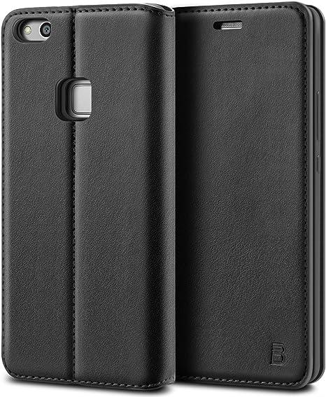 BEZ Funda Huawei P10 Lite, Carcasa Compatible para Huawei P10 Lite, Libro de Cuero con Tapa y Cartera, Cover Protectora con Ranura para Tarjetas y Billetera, Cierre Magnético, Negro: Amazon.es: Electrónica