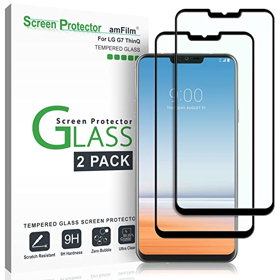 buy popular 8cdbb ef7a8 amFilm Glass Screen Protector for LG G7 ThinQ, Dot Matrix, 2 Pack (Black)