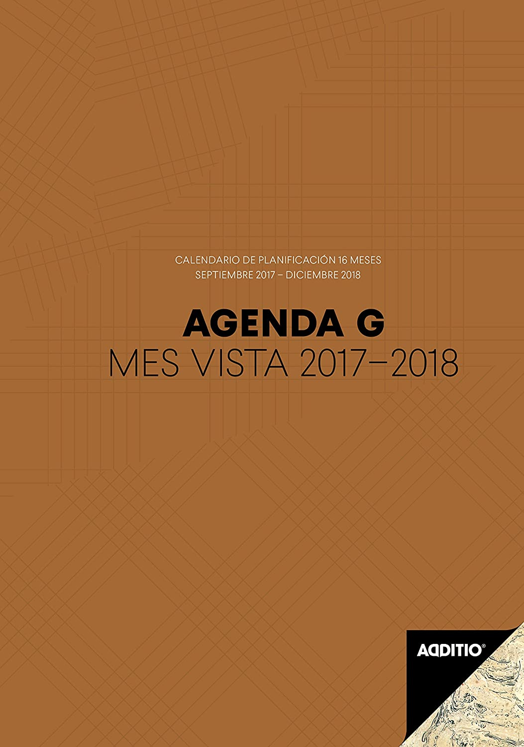 Additio G 2017-2018 - Agenda mes vista para el profesorado, color marrón