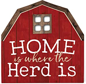 P. Graham Dunn Home is Where The Herd is Barn Bright Red 9 x 9 Wood Shaped Tabletop Plaque