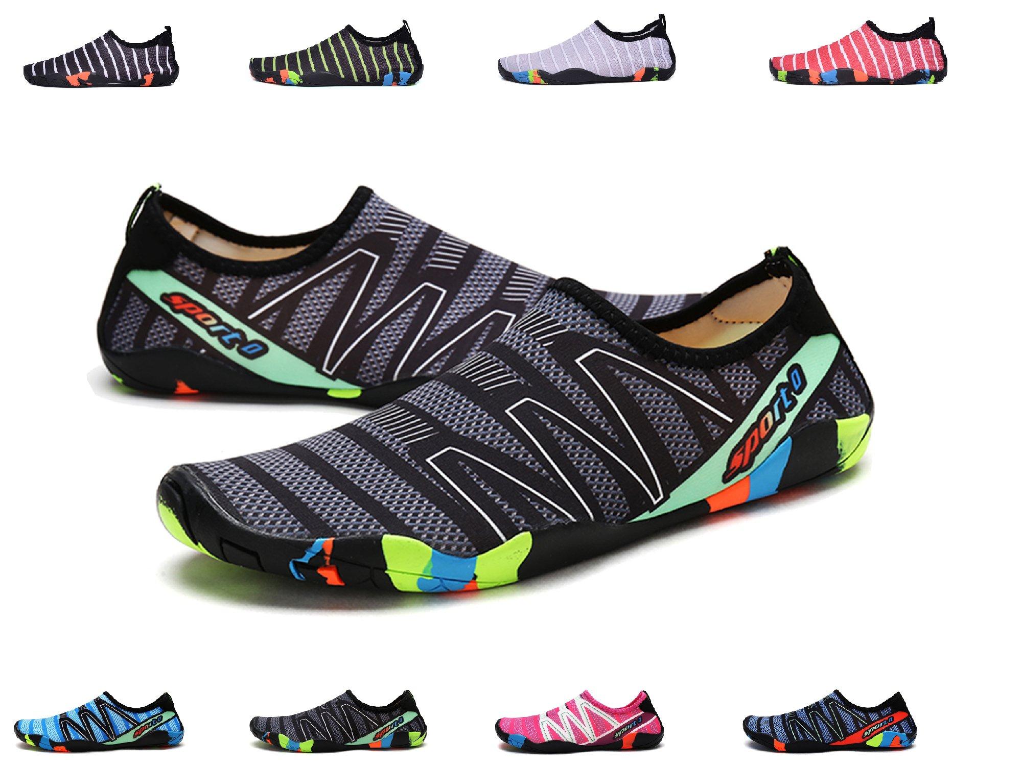 XPKWS Water Shoes for Women Men Quick-Dry Swim Shoes Outdoor Mens Womens Surf Boating Sports (Black01, 11.5 D(M) US Men)