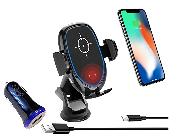 Ionic Wireless Cell Phone Car Charger Holder/Windshield/Dashboard/Air Vent  Mount, 10W Fast Charging Qi-Certified Compatible with iPhone X/8/8 Plus,
