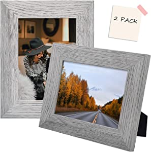 Golden State Art, Set of 2 Picture Frame - Wide Molding - Wood Grain Style - Easel for Tabletop Display, Back Hangers for Wall Display - Great for Baby Pictures, Weddings, Portraits (5x7, Grey)