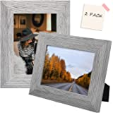 5x7 Barnwood Rustic Style Picture Frames Built-in Easels Americanflat 2 Pack Wall Display Tabletop Display PS0507BR2PK