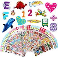 VLCOO 3D Stickers for Kids 1000 Puffy children Stickers 40 Variety Sheets for Rewarding Gifts Scrapbooking Including Animals, Numbers, Letters, Emojis, Dinosaurs, Fruits, Airplane, and More