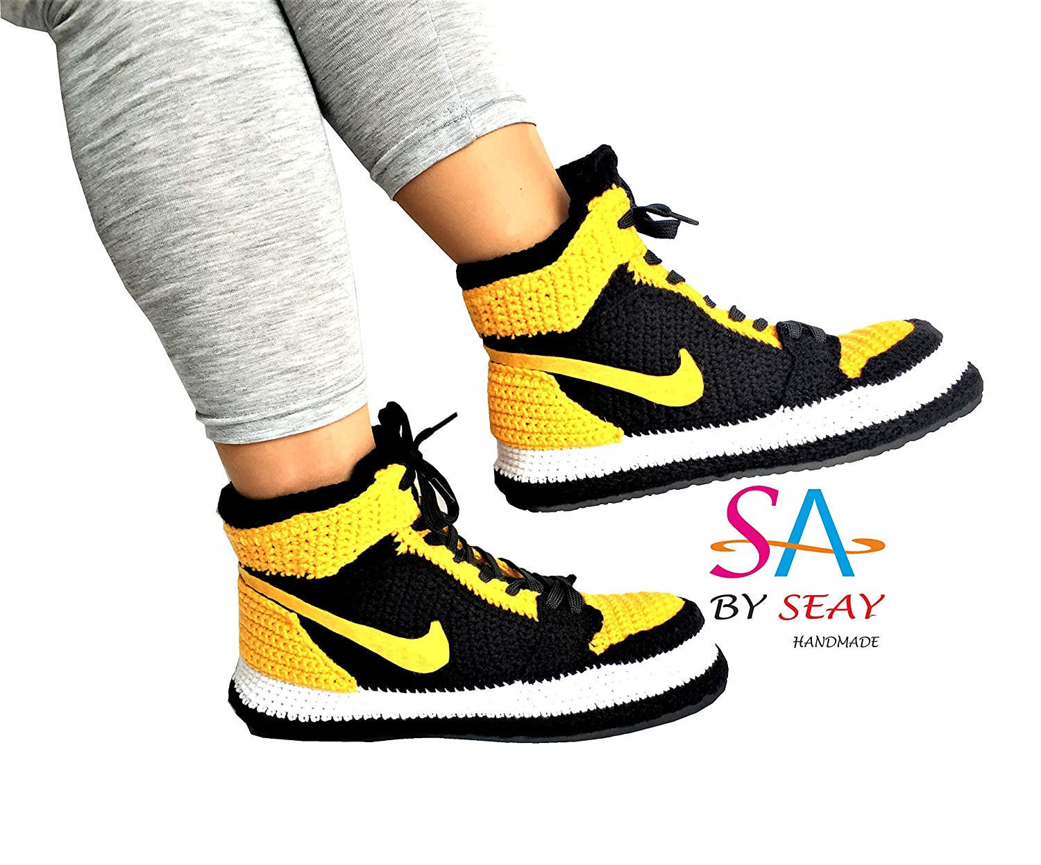 newest f59ce 63e5a Amazon.com: Knitting Style Air Jordan 1 Mid Yellow '' New ...