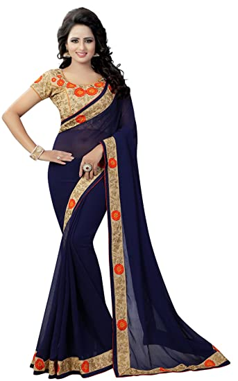 5b51d85fb7a7f Navy Blue Color Georgette Embroidered Designer Women s Ethnic Wear Saree  With Blouse OB 2209 NAVY