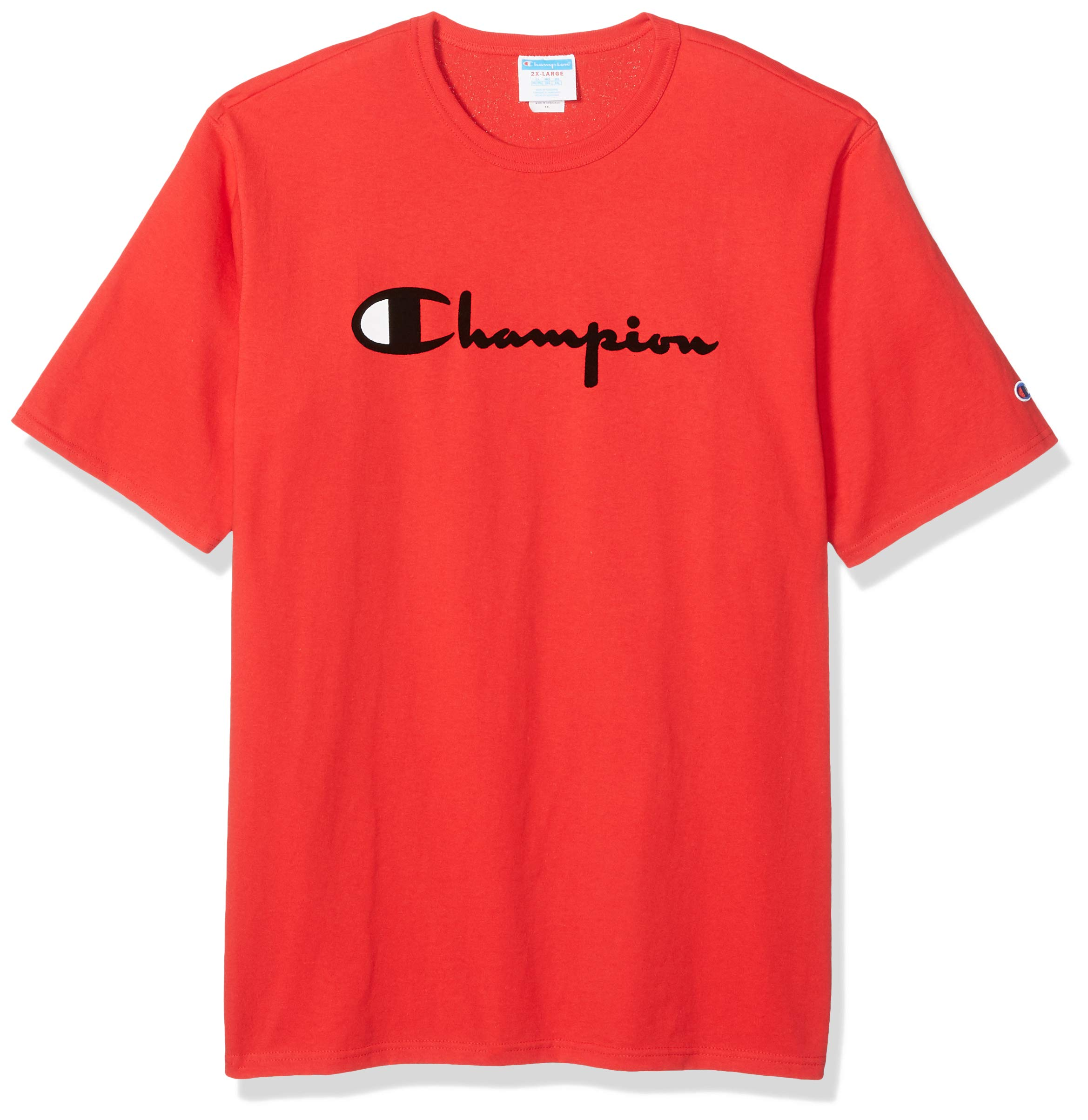Champion LIFE Men's Heritage Tee, Team Red Scarlet W/Flock Script, 3X Large