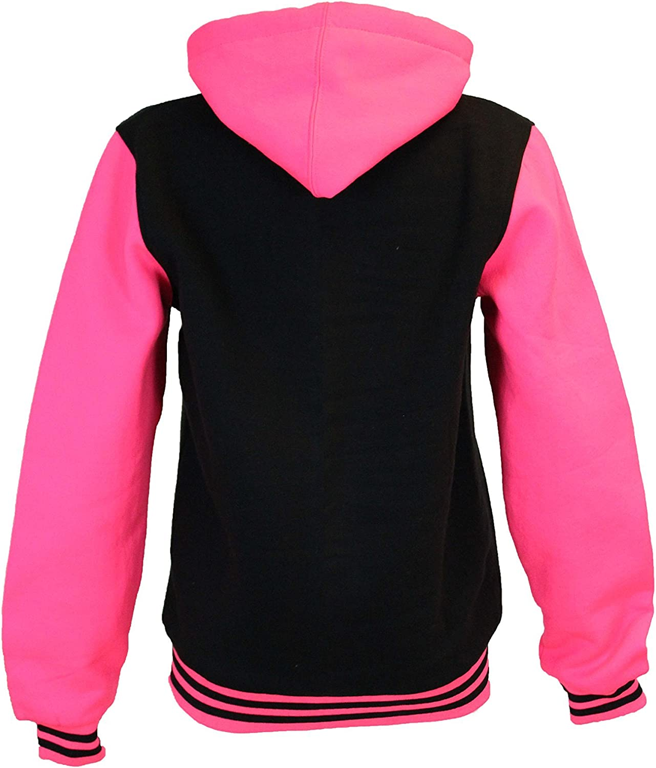 Fashion Oasis Ladies Baseball Varsity Jacket with NEON Pink Fluorescent Sleeves Hooded Hoodie Sizes S//M 8-10 M//L 12-14 Plus Sizes 18 to 28