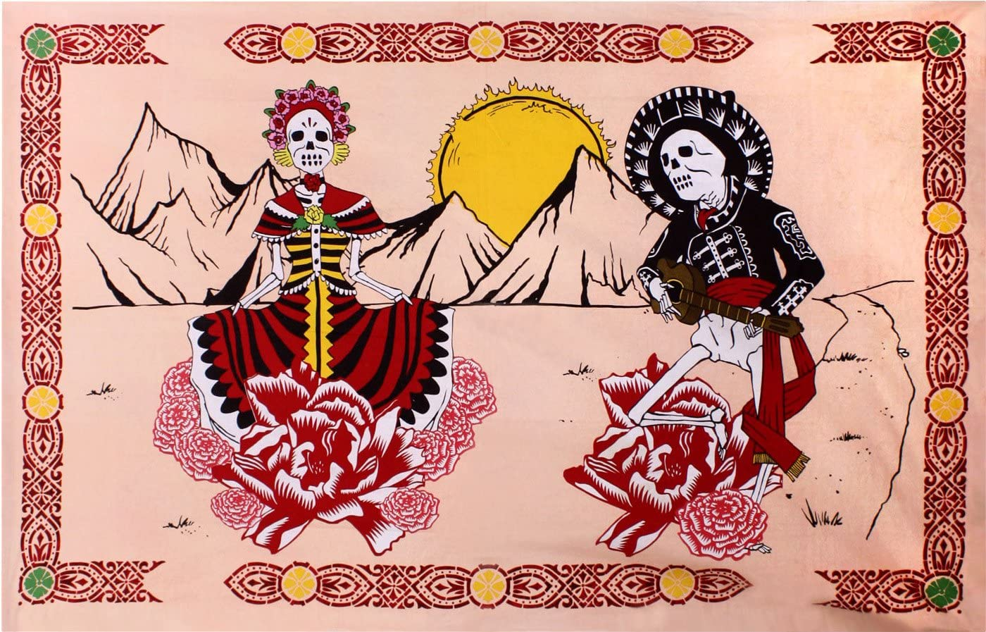 Sunshine Joy Mexican Day of The Dead Tapestry – 60×90 Inches – Beach Sheet – Hanging Wall Art