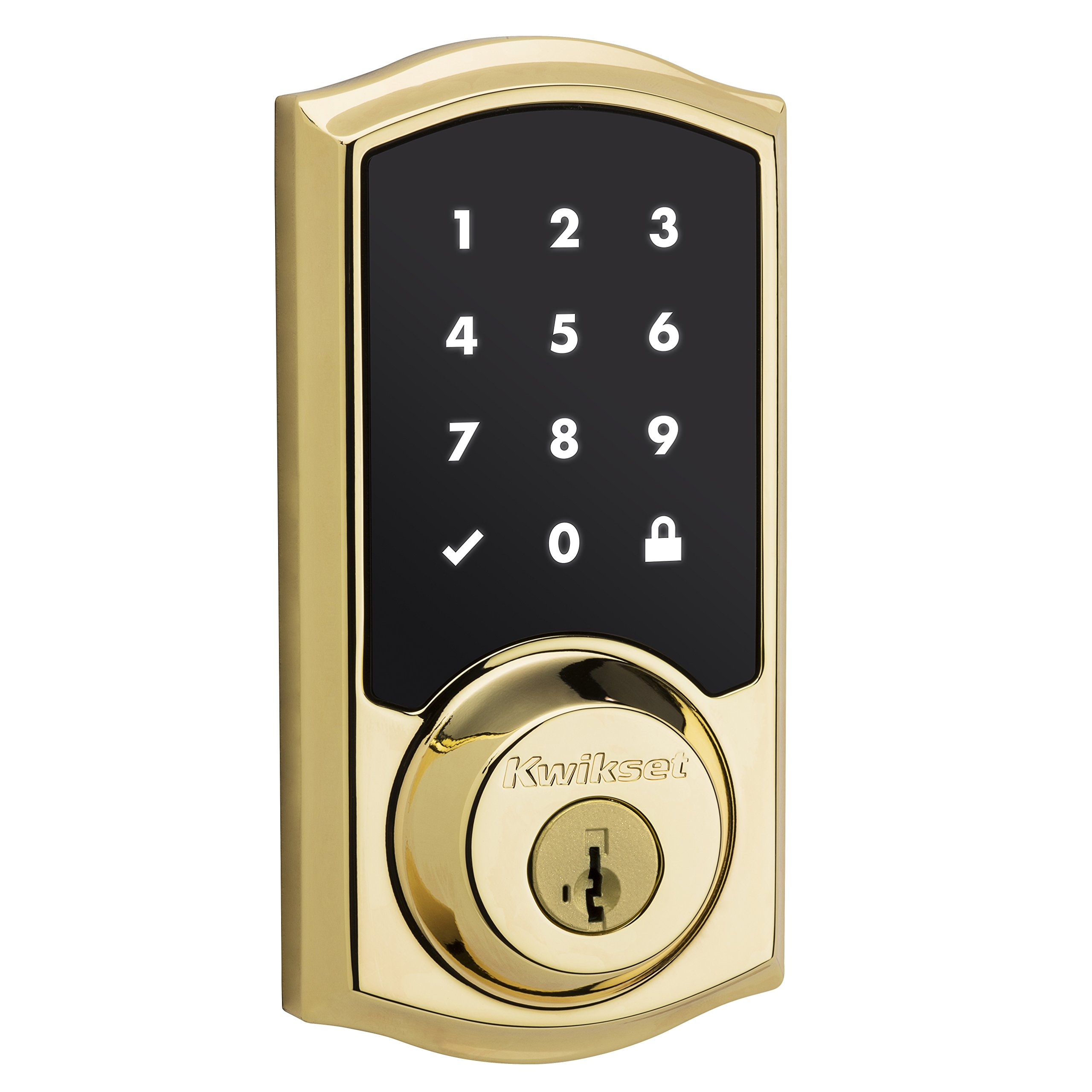 Kwikset 99160-007 SmartCode ZigBee Touchscreen Smart Lock works with Echo Plus & Alexa, featuring SmartKey, Lifetime Polished Brass by Kwikset (Image #1)