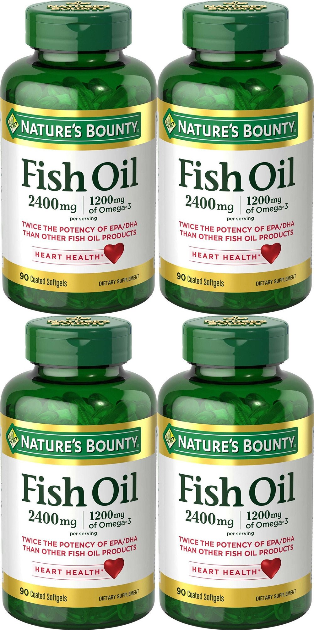 Natures Bounty Fish Oil 2400 mg Double Strength Odorless 90 Softgels (Pack of 4)