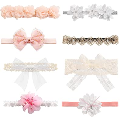Newborn Bows Flowers Cotton Headband Baby Cute Hair Lace Kids Elastic Belt Rope