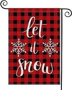 "CHICHIC Merry Christmas Garden Flag Buffalo Winter Flag Xmas Burlap House Yard Lawn Flag, Vertical Double Sized Outside Christmas Outdoor Decorations, Seasonal Home Decor, 12.5"" x 18.5"", Let it Snow"