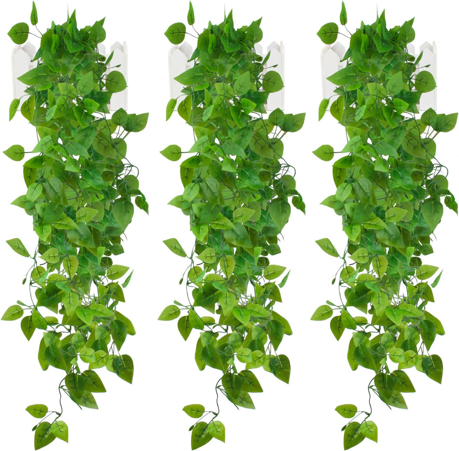 Artificial Hanging Plants, EHWINE 3 Pcs 3.93 Ft Fake Ivy Vines Each Greenery Garland Leaves Faux Hanging Plant Vines for Home Bedroom Room Indoor Wedding Wall Decor (No Baskets)